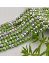 perline di cristallo cinese mezzi cristalli cipollotti 4.5 x 6 MM verde /ARGENTO 90 pz