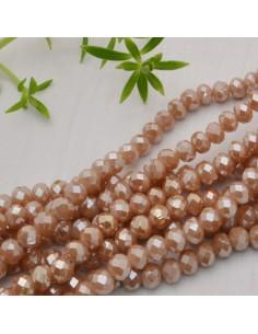 perline di cristallo cinese mezzi cristalli cipollotti 4.5 x 6 MM beige AB 90 pz