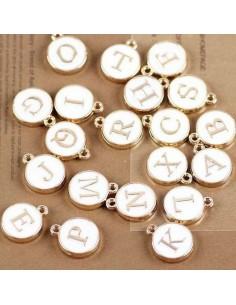 Ciondolo charms lettera alfabeto smalto 26 pz completo 12x15 mm in ottone colore bianco