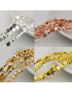 perle ematite stella distanziatore stalle 6 mm placcato colore filo 40 cm