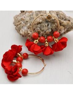 Orecchini fiori in raso rosso Cerchio anello oro 45 mm con perle in ceramica