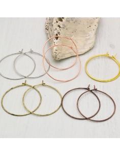 orecchini a cerchio sottili con chiodo 25 mm spessore 0.7 mm IN OTTONE 2 Paia