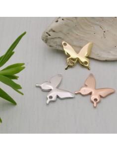 Connettore ciondolo Farfalla in argento 925 con due fori 12 mm per idea centrale gioielli