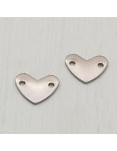 2 pz Connettori a cuore in acciaio con 2 fori 9 X 11.5 mm PER bracciale