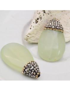 goccia piatta con marcasite strass oro pietra di giada verde chiaro 20 x 34 mm