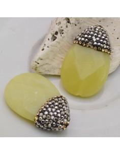 goccia piatta con marcasite strass oro pietra di giada giallino 20 x 34 mm