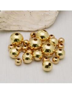 DISTANZIATORI pallina liscio col oro chiaro in ottone per gioielli