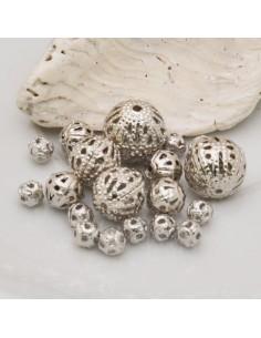 DISTANZIATORI pallina filigranate col argento in ottone per gioielli