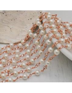 Catena Rosario con cristalli 4 mm colore perle bianco base oro rosa in Ottone