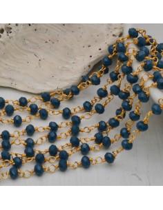 catena rosario cristalli 3 mm concatenata filo oro in ottone colore petrolio scuro