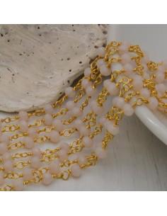 catena rosario cristalli 3 mm concatenata filo oro in ottone colore panna