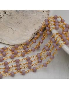 catena rosario cristalli 3 mm concatenata filo oro in ottone colore lilla