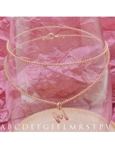 collane choker iniziale argento 925 placcato oro rosa un catena sottilissimo 1 mm