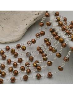 catena rosario cristalli 3 mm concatenata filo argento in ottone colore rame 50 cm