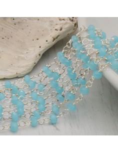 catena rosario cristalli 3 mm concatenata filo argento in ottone colore azzurro chiaro 50 cm