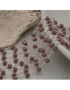 catena rosario cristalli 3 mm concatenata filo argento in ottone colore lilla 50 cm