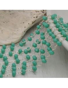 catena rosario cristalli 3 mm concatenata filo argento in ottone colore turchese 50 cm