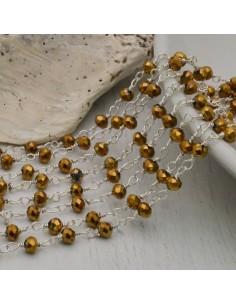 catena rosario cristalli 3 mm concatenata filo oro in ottone colore nero 50 cm