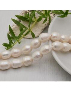 Fili di perle acqua dolce grande foro da 2 mm forme Chicchi di Riso 9.5 x 12 mm 31 pz