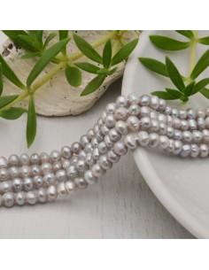 filo Perle coltivate naturali Perle Tonde grigio chiaro 3.5-4 mm 115 pz