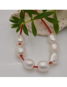 4 perle acqua dolce grande foro da 2.5 mm forme Chicchi di Riso 7 x 9 mm