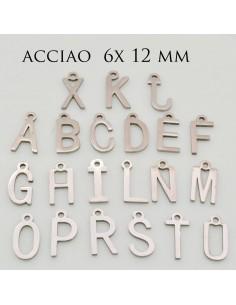 Ciondoli Iniziale di letterine in acciaio 6 x 12 mm per fai da te