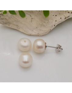 Coppia perle di fiume bianco mezzo foro 10 mm fondo piatto da incollare per fai da te