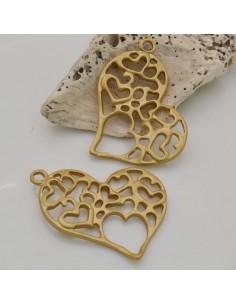 1 PZ ciondolo in ZAMA forma CUORE TRAFORATO 30 x 40 mm col oro per fai da te