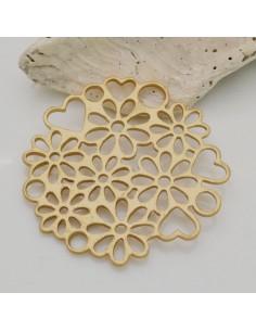 1 PZ ciondolo in ZAMA forma tondo margherita e cuori 40 mm col oro per fai da te