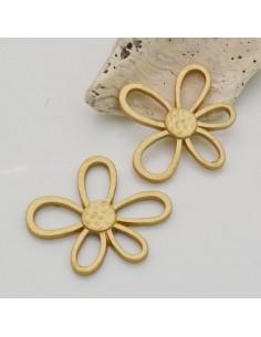 1 PZ ciondolo in ZAMA forma fiore margherita 32 x 35 mm col oro per fai da te