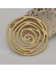 1 PZ ciondolo in ZAMA forma di rosa 40 mm col oro per fai da te