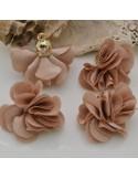 nappine di raso forma di fiore per bijoux per collana orecchini ciondolo 25x30 mm 2 pz