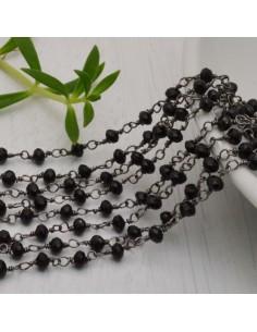 catena rosario cristalli nero 3 mm concatenata filo canna di fucile in ottone 50 cm per fai da te