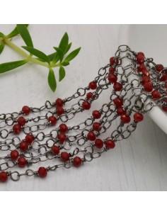 catena rosario cristalli bordò 3 mm concatenata filo canna di fucile in ottone 50 cm per fai da te
