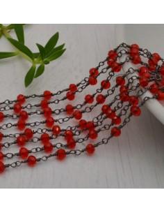 catena rosario cristalli rosso 3 mm concatenata filo canna di fucile in ottone 50 cm per fai da te