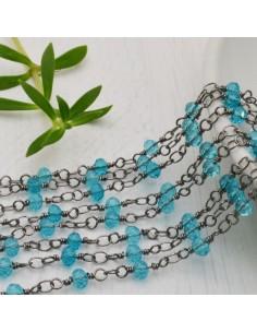 catena rosario cristalli azzurro 4 mm concatenata filo canna di fucile in ottone 50 cm per fai da te