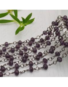 catena rosario cristalli VIOLA 4 mm concatenata filo canna di fucile in ottone 50 cm per fai da te
