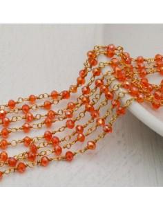 catena rosario cristalli 3 mm concatenata filo oro in ottone colore arancione