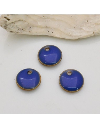 2 pz ciondoli a rotondo smaltato sopra e sotto in ottone 8 mm per fai da te
