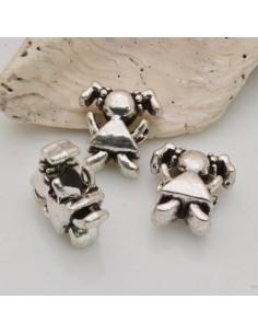 3 pz DISTANZIATORI foro largo forma BIMBA 13 x 14 mm col argento PER BRACCIALE COLLANA