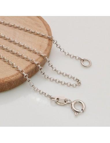 Base collana in argento 925 CATENA ROLO rodio spessore catena maglia 1.8 mm sfaccettata per ciondolo