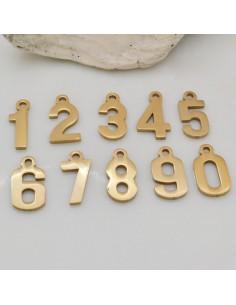ciondoli in acciaio Inossidabile oro forma numeri 6.7 x 13 mm