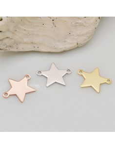 1pz Connettore stella liscia in argento 925 con due anelli 12 mm per bracciale collana orecchini
