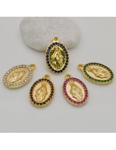 Medaglia della Madonna con strass base oro 13 x 21 mm fai da te