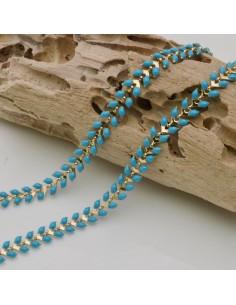 catena spina di pesce smaltato 6,5 mm in ottone col azzurro fai da te