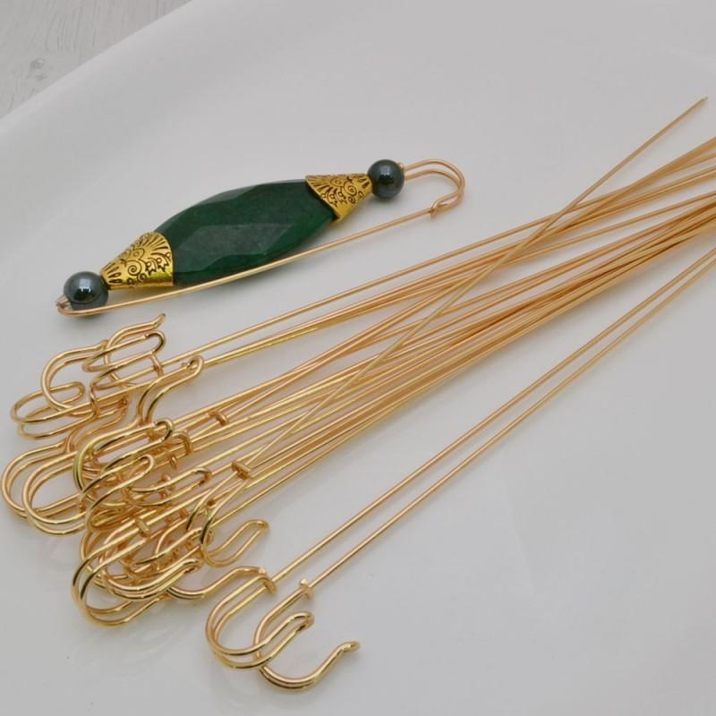 spilloni aperti 23 cm da decorare colore oro Spillone per creazioni base spille