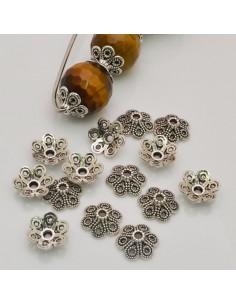 Copri perla con fantasia fiore a coppette 12 mm colore argento 14 pz per fai da te