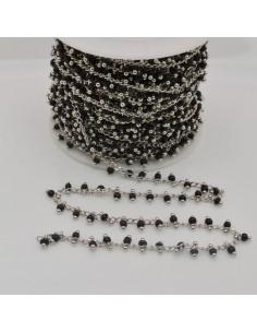 50 cm Catena Rosario con perline indiane 2 mm col nero base argento per fai da te
