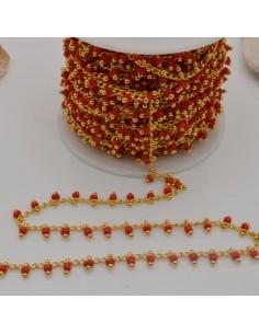 50 cm Catena Rosario con perline indiane 2 mm col rosso base oro per fai da te