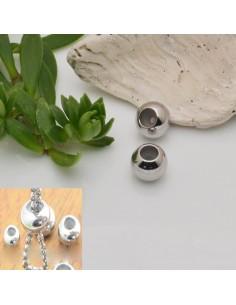 2 pz chiusura regolabile per bracciale fermo cordino a pallina in acciaio
